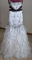 Venus Black White Beads Prom Pageant Dress size  6 Long Floor Length Gown