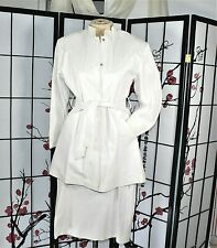 LEATHER SKIRT SUIT WHITE, LARGE