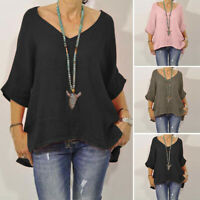 Women 3/4 Sleeve Casual Round Neck Loose Oversize Blouse Shirt Tops Oversize Top