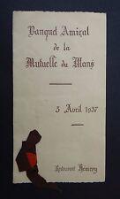 MENU Banquet amical de La Mutuelle du Mans 3 avril 1937 MMA restaurant Hémery