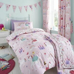 HLC Girls Kids Unicorns Princess Rainbow Pink Duvet Cover Curtains Throw Bunting