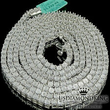 Men's White Gold FInish 1 Row Real Genuine Diamond 36 Inch Tennis Necklace Chain