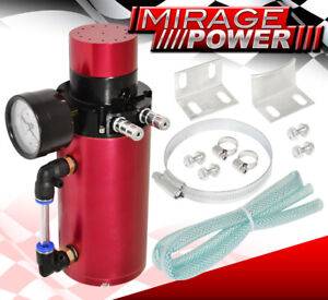 Turbo Super Charger Oil Gas Vapor Bypass Oil Catch Can Vacuum Gauge Breather Red