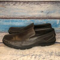 Bass Men's Victor Brown Leather Slip On Apron Toe Casual Loafer Shoes Sz 12 M