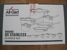 NEW IN BOX ALL CLAD D5 BRUSHED STAINLESS STEEL 10 PIECE COOKWARE SET