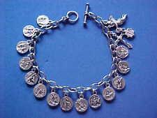 """STATIONS of the CROSS Religious ANGEL Saint Medal Charm Bracelet 8.5"""" JESUS"""