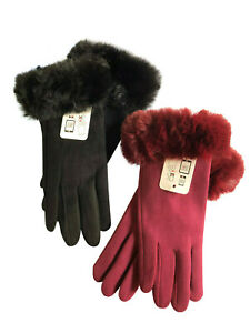 2Pairs Women Touchscreen Fasion Gloves Windproof Text Fleece Lined Winter Gloves
