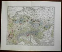 Geological Map of Central Europe Germany Northern Italy Poland 1850 Berghaus map