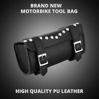GENUINE LEATHER MOTORCYCLE MOTORBIKE CYCLE UNIVERSAL TOOL ROLL SADDLE BAG BLACK