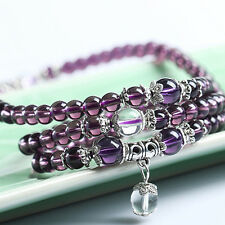 Purple Crystal Stone Buddhist Amethyst 108 Beads Mala Bracelet Necklace Healthy