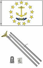 3x5 State of Rhode Island Flag Aluminum Pole Kit Set 3'x5'
