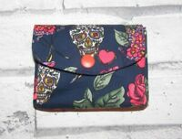 Sugar Skulls & Roses Fabric 3 Compartments Handmade Coin Purse
