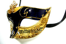 VENETIAN MASQUERADE UNISEX BLUE & GOLD ANTIQUED PARTY EYE MASK WITH MUSIC NOTES