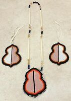 3PC.CUT BEADED GEOMETRIC DESIGN NATIVE AMERICAN INDIAN HAIRTIES AND NECKLACE SET