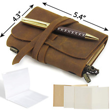 Small Pocket Refillable Travellers Notebook Handmade Leather Journal AMAZING for