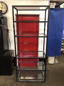 Vintage Wrought Iron Glass Shelf 6 Shelves Curio Rack Rustic Industrial HEAVY