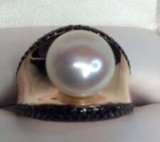 Bronze Italia Rose Bronze Cultured Mabe Pearl Black Spinal Ring (c193)