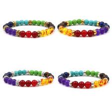 Fashion Natural Stone Colorful Chakra Energy Yoga Women Men Bracelet Jewelry