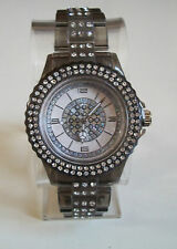 Fashion Designer Smoke Black/Silver Finish Boyfriend  light weight stone Watch