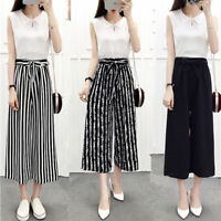 Women Girl Wide Leg High Waist Casual Summer Thin Pants Loose Culottes Trousers