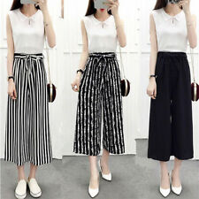 Women Girl Wide Leg High Waist Casual Summer Thin Pants Loose Culottes Trousers