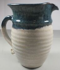 Blue & Stone Color Pottery Ewer/ Pitcher Signed By Aritst Bellinger & Dated 6-78