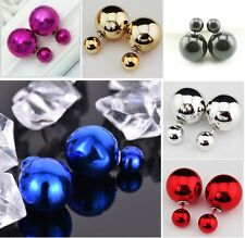 ||SALE|| Six Pair Metallic Solid Color Double Side Double Ball Stud Earrings