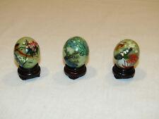 2 Vintage Jade Stone Mini Eggs Birds Flowers Hand Painted Asian Art Eggs!
