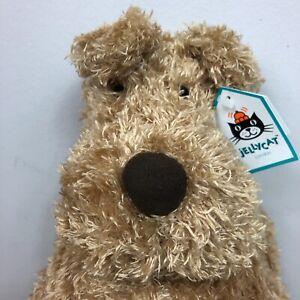 "Jellycat Medium Bunglie Dog Plush Brown Puppy 15"" Floppy Stuffed Animal Lovey"