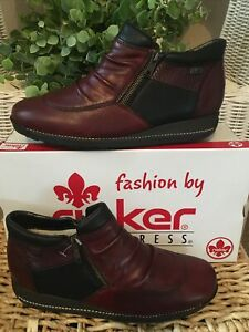 RIEKER 44280-35 LADIES' Burgundy Combination Ankle Shoe/Boots💜Wedge Heel Size 6