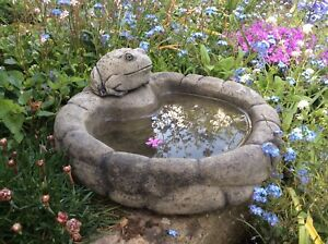 🇬🇧 STONE GARDEN PEBBLE FROG BIRD BATH DISH / FEEDER / BOWL / DISH ORNAMENT 🐸