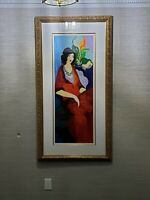 Large, Rare Itzchak Tarkay Red Dress II, signed, numbered and framed