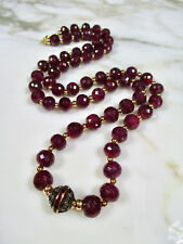 "HUGE FACETED NATURAL RUBY BEADED NECKLACE W DIAMONDS 14K GOLD 27"" 98.7 GR 493 CT"