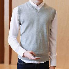 Men's Sweater Knitted Vest Warm Wool V-Neck Sleeveless Pullover Tops Shirt M-3XL