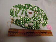 "Christmas Garland Mercury Glass Green 93"" Log 7/16-5/16"""" Beads Dn 5 Vintage"