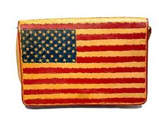 Diane Weiss NY Collectable Artist-Signed Leather Rustic American Flag Handbag