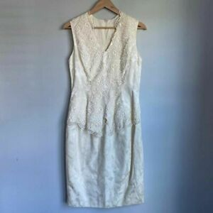 Jessica McClintock Womens Sheath Dress Ivory Floral V Neck Sleeveless Lace 12