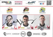Watts / Leventis / Kane SIGNED Strakka Racing, PromoCard  WEC 2016