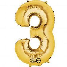 """Numero 3 Gold Foil Balloon 16"""" 40cm Aria Riempire Nome Età Compleanno Anniversario"""