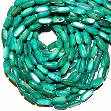"""MP2187L Teal Blue-Green 12mm - 15mm Flat Round Tube Mother of Pearl Beads 15"""""""