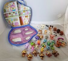Large Lot Of LPS Littlest Pet Shop Dogs Cats Monkeys Carrying Case Sea Creatures