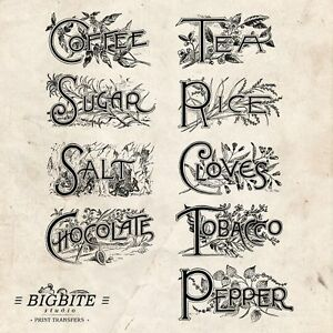 WATER DECAL: Herbs Spices Kitchen Labels Vintage (Furniture Print Transfer) #025