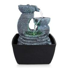 Serenelife 3 Tier Waterfall Electric Water Fountain Decor W Led Indoor Outdoor