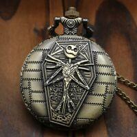 New Nightmare Before Christmas Quartz Pocket Watch Full Hunter Chain Gift Bag