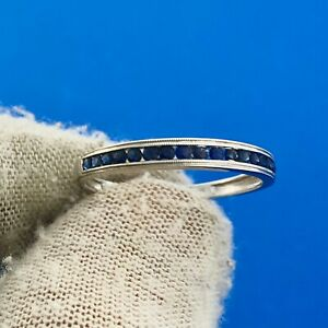 Gorgeous 14k White Gold Round Cut Sapphire Channel Set Ring Size 8.5