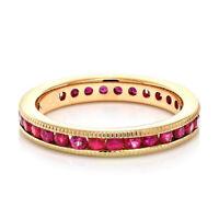 2ct Round Cut Pink Ruby Wedding Band Ring Milgrain Eternity 14k Rose Gold Finish