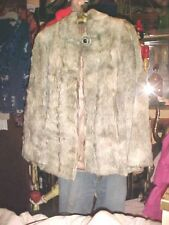 Vintage Woman's Curly Lamb's Jacket 1950's With Collar/ Black Stone Button