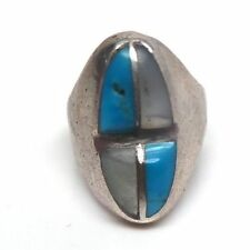 Old Pawn Navajo Handmade Sterling Silver Mother Of Pearl&Turquoise Ring Size 5.5