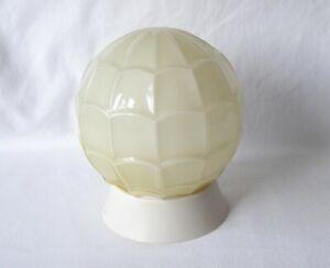 ART DECO VASELINE GLASS PATTERNED GLOBE SHAPE WALL, CEILING LIGHT SHADE & MOUNT