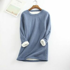 Women's Mid-Length Fleece Thickened Large Size Shirt Slim Fit Warm Top..